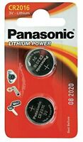 CR2016 Coin Battery Pack of 2 Panasonic 3V/ for Watches Cameras Car Keys Torches