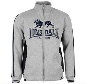 5876148d2b2d Das Bild wird geladen Lonsdale-London-Herren-Jacke-Sweater-Grau-Blau-alle-