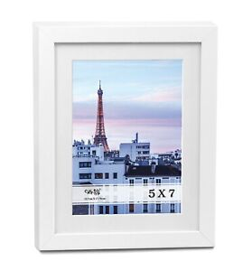 """Cavepop 5x7"""" White Wood Textured Picture Frame"""