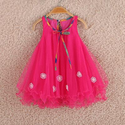 2015 Summer Kids Baby Girls Floral Skirt Single Tulle Lace Dress Lovely Sundress