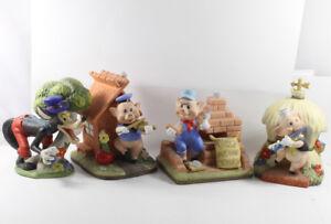 Three-Little-Pigs-Wolf-4-x-Walt-Disney-Productions-Figurines-Music-Box