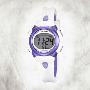 Calypso-Plastic-Pure-Women-039-s-Watch-K5609-2-Wrist-White-Purple-Digital-UK5609-2