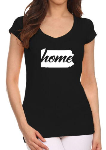 Junior/'s Home Pennsylvania Map Black V-Neck T Shirt State Pride Hometown PA V342
