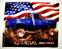 Mud Truck T-shirt 4x4 Offroad Lifted Patriotic Dodge Bogger White Tee Monster