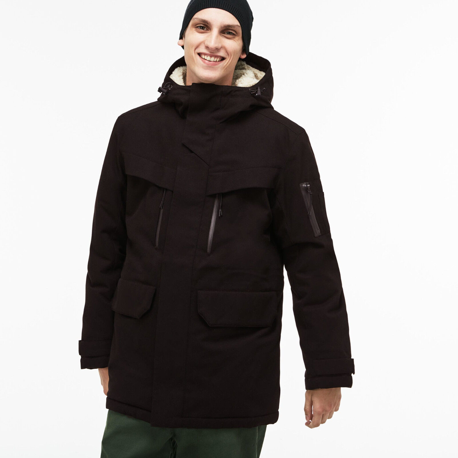 Lacoste NWT Men's Stylish and Warm Hooded Faux Fur Lined  Closeout Sales