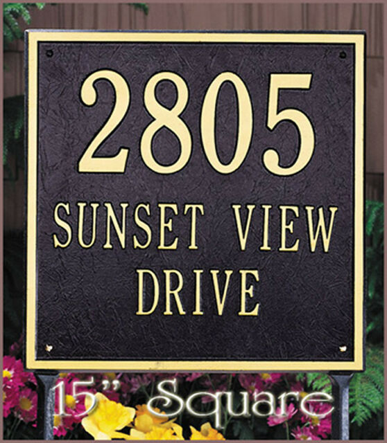 "Whitehall 15"" Large Square Personalized Plaque Address Marker 17 Colors No Rust"