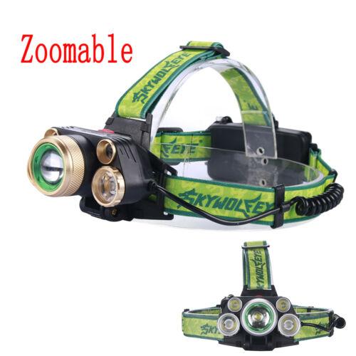 SKYWOLFEYE X-XM-L 5 T6 LED 80000 Lm Headlight Rechargeable USB Zoom Lamp GA