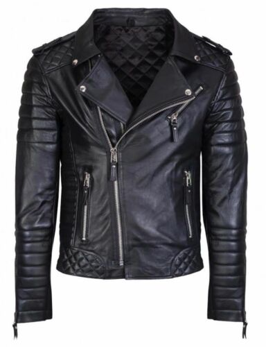 Men/'s Diamond Quilted Kay Michael Soft Sheep Leather Black Slim Fit Biker Jacket
