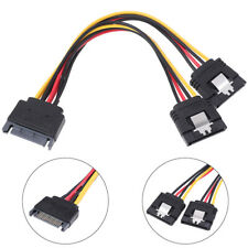 """6/""""in 15pin SATA Power Y//T//Splitter 1Male~2Female Adapter Cable//Cord//Wire $SHdisc"""
