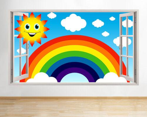 Wall Stickers Rainbow Sun Nursery Sky Baby Window Decal 3D Art Vinyl Room C498