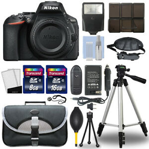 Nikon D5600 24.2 MP Digital SLR Camera Body + 24GB Top Accessory Bundle