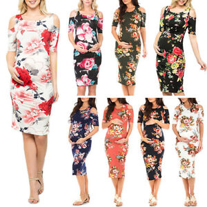 Casual-Floral-Cold-Shoulder-Bodycon-Maternity-Short-Dress-for-Pregnant-Women