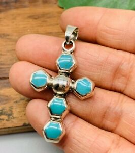 NEW-Turquoise-925-Solid-Sterling-Silver-Cross-Pendant-Handmade-in-Taxco-Mexico