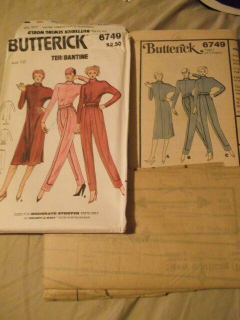 Butterick Stretch Knit dress top skirt pattern 6749  sz 10 complete uncut