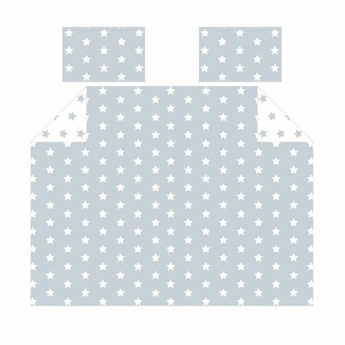 GREY AND WHITE STARS DOUBLE DUVET COVER /& PILLOWCASE SET FREE P+P