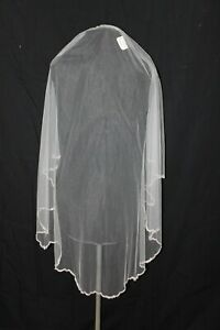 New! Ivory single layer fingertip length veil with beaded & Rhinestone edge $270