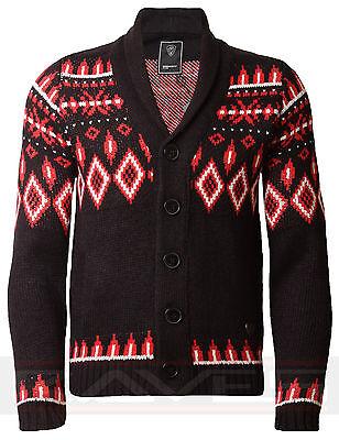 Mens Cardigan Dissident Aztec Jumper Shawl Neck Chunky Knit 1B1244