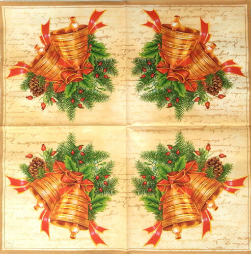 4 x Single Table Paper Napkins for Decoupage Bells Craft Party