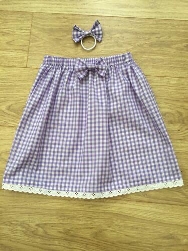 New BNWT girls gingham school skirt polycotton hair bow