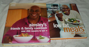 2-AS-NEW-AINSLEY-HARRIOTT-HC-COOK-BOOKS-FRIENDS-AND-FAMILY-LOW-FAT-MEALS