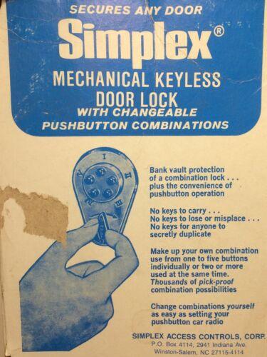 Simplex Keyless Pushbutton Mechanical Door Lock Brass Gold Deadbolt