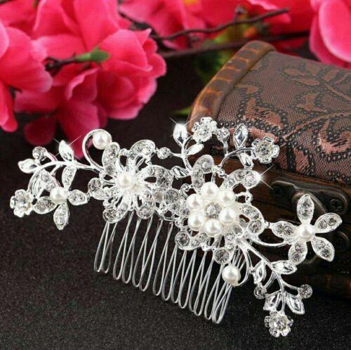 1 di 3 Fermaglio Pettine capelli matrimonio con strass di cristallo e perle  finte 30587988e16b