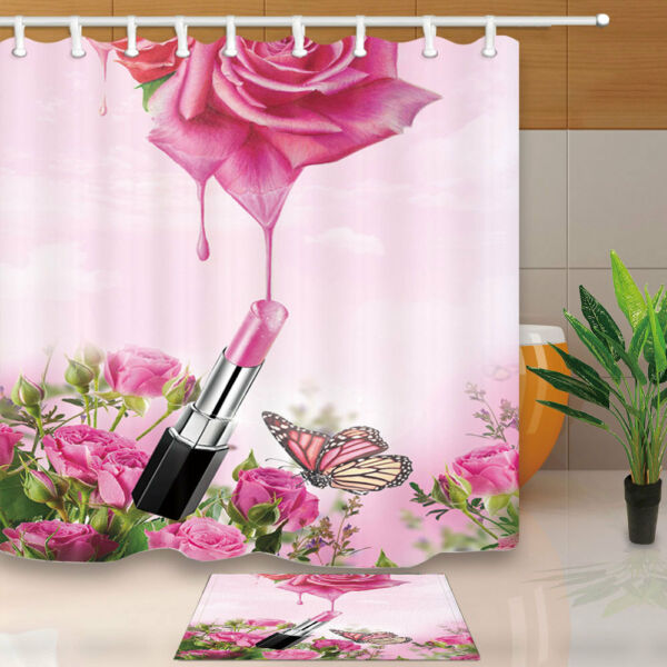 Lipstick And Roses Dew Bathroom Fabric Shower Curtain Set Butterfly 71Inch Hover To Zoom