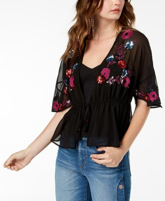GUESS Layered Embroidered Sequin Tassel Tie Short Sleeve Peplum Top, Black, XS