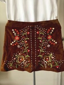 4e83b23c Details about Zara Women Suede embroidered Floral Mini  Skirt/Vintage/Romantic/4369/252/704 S