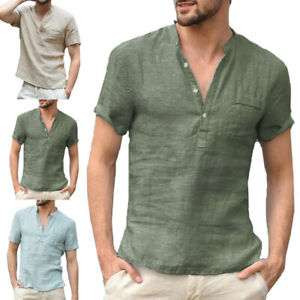 Men Summer New Fashion Short Sleeve V-Neck Slim Fit Linen T-Shirt Top Shirt