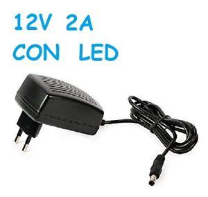 TRASFORMATORE-ALIMENTATORE-2A-SPINA-AC-220V-12V-STRISCIA-LED-NERO-con-LED