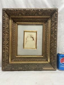 Vtg-ANTIQUE-Victorian-Baby-Portrait-Ornate-Shadow-Box-Barbola-Chalk-Wood-Frame