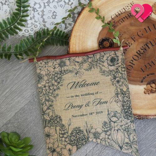 CUSTOM PERSONALIZED Garden Monogram CANVAS BURLAP FLAG BANNER Wedding Party Xmas