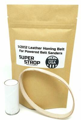 1//2X12 Inch 2 Pk Leather Honing Belts Super Strop Work Sharp Wht /& Grn Compound
