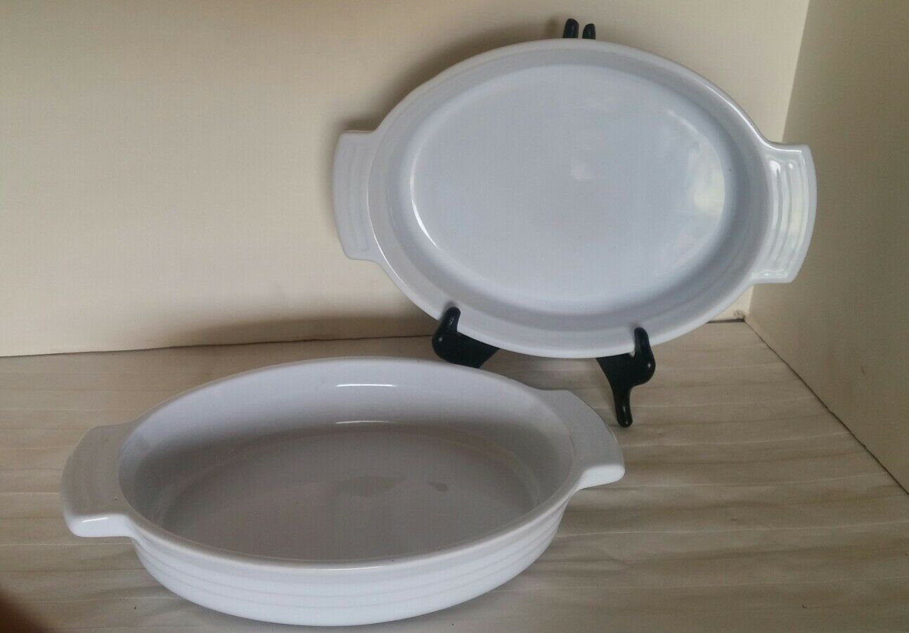 LE CREUSET  24 Weiß OVAL AU GRATIN BAKING DISH PAN FRANCE PAIR 2