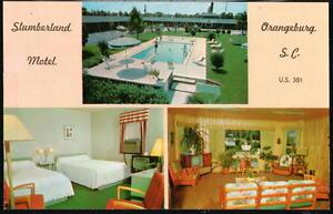 ORANGEBURG-SC-Slumberland-Motel-Vtg-Multview-Postcard-Old-South-Carolina-PC