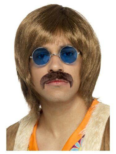 Mens 60s 1960s Hippie Hippy Kit Peace Love 70s Wig Tash Specs Costume 1970s Set