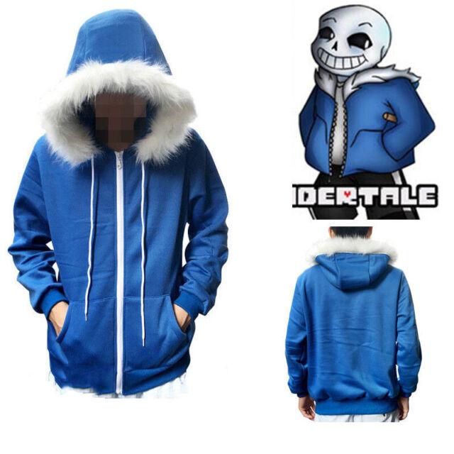 Hot Undertale Sans Cosplay Blue Hoodie Hooded Jacket Coat Sweater Sport Costume