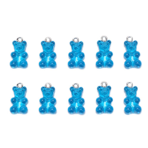 10Pcs//Set Gummy Bear Candy Charms Necklace Pendants DIY Earrings Jewelry GTOCASJ