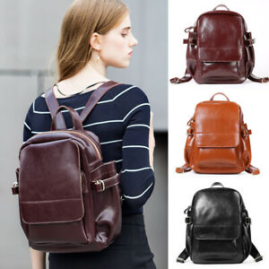 Women-039-s-Real-Leather-Backpack-Rucksack-Daypack-Travel-Bag-Cute-Purse-Retro