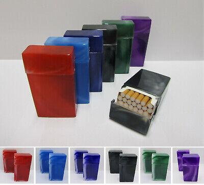 2 x Alu Metall Zigarettenetui Zigarettenbox Etui Box f 20 Zigaretten rot
