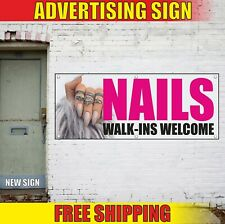 Nails Banner Advertising Vinyl Sign Flag Manicure Pedi Salon Walk Ins Welcome