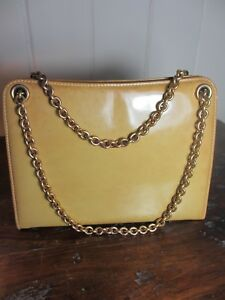 Image Is Loading Vintage Gucci Yellow Patent Leather Handbag W Gold