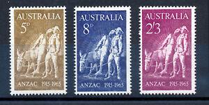 AUSTRALIA-1965-50th-ANNIV-GALLIPOLI-LANDING-ANZAC-SG373-375-BLOCKS-OF-4-MNH