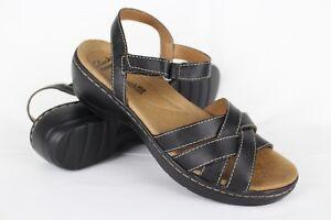 Clarks-Women-039-s-Hayla-Pier-Ankle-Strap-Wedge-Sandals-7m-Black-Leather