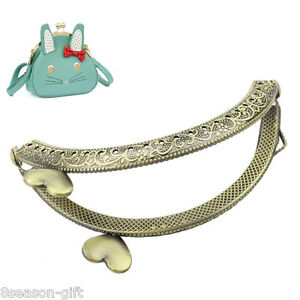 15PCs Metal Purse Bag Frame Kiss Clasp Lock Bronze Tone 9cm x5.5cm B31670