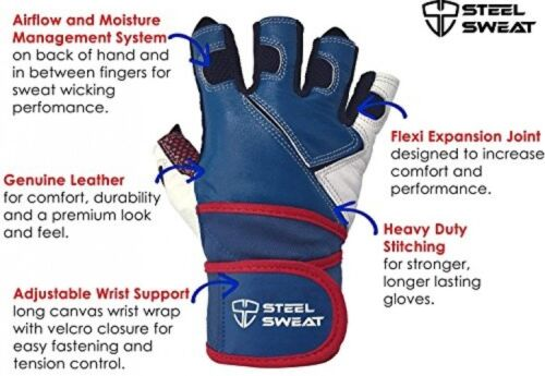 Steel Sweat Weightlifting Gloves With 18-inch Wrist Wrap Support Workout XXL