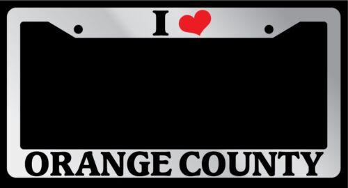 "Chrome License Plate Frame /""I Heart Orange County/"" Auto Accessory Novelty 2465"