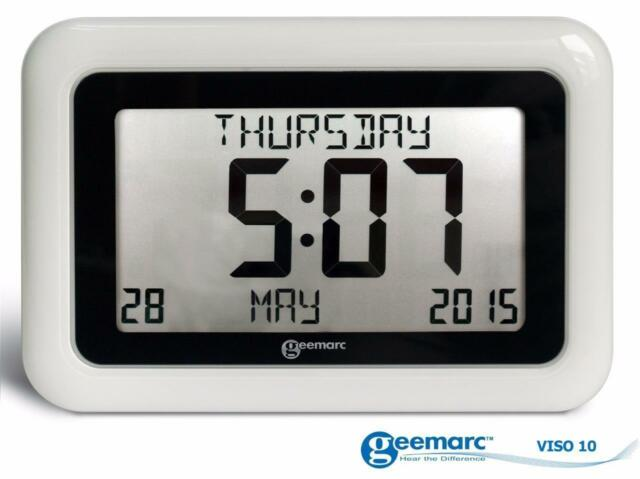Geemarc VISO10 Large Wall Clock Day, Date & Time Display Dementia Alzheimers Aid