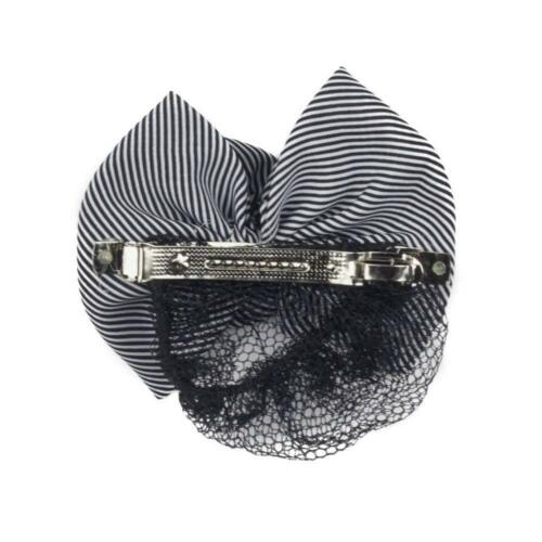 Striped Fabric Bow and Flower French Barrette Snood Hair Clip  Black White